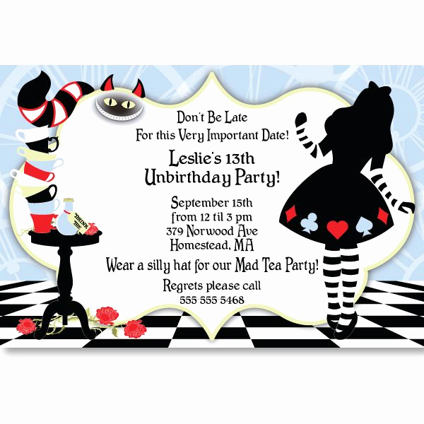 Alice In Wonderland Invitation Templates New Alice In Wonderland Invitation Template
