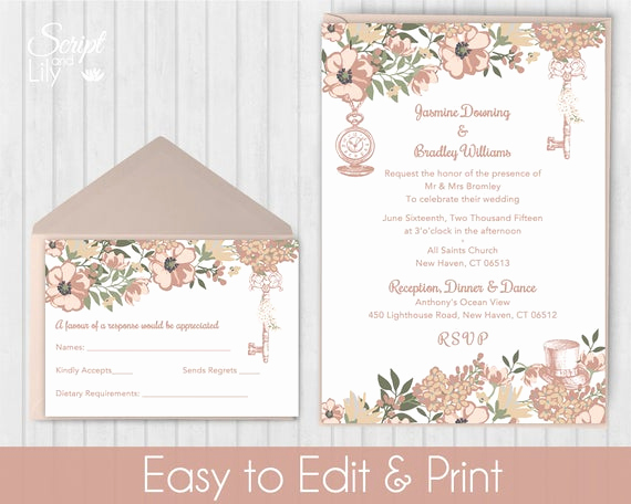 Alice In Wonderland Invitation Templates New Blush Rose Gold Alice In Wonderland Invitation Template Free