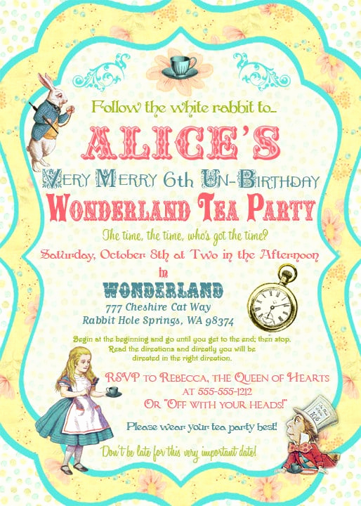 Alice In Wonderland Invitation Templates Unique Alice In Wonderland Invitation Template Free