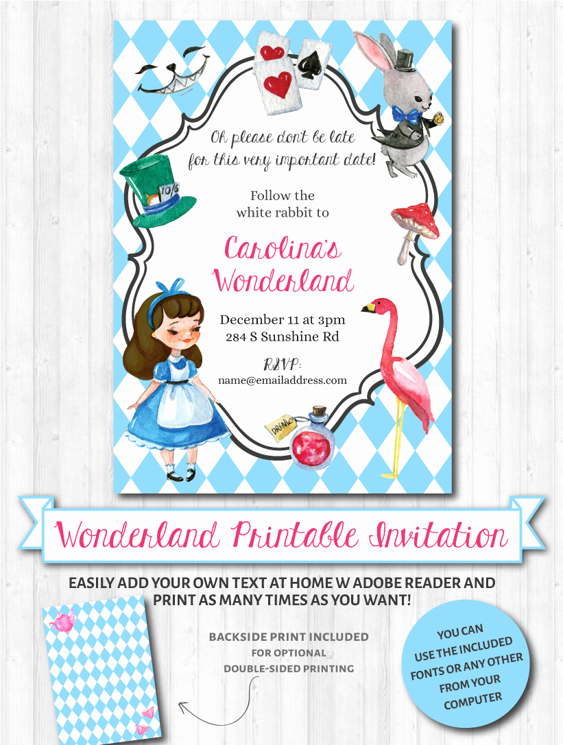 Alice In Wonderland Invitation Unique Wonderland Invitations Brunette – Wonderbash