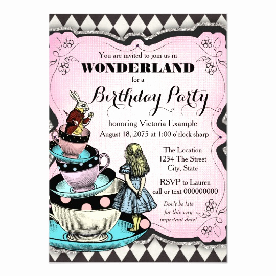 Alice In Wonderland Invitation Wording Beautiful Vintage Alice In Wonderland Birthday Party Invitation