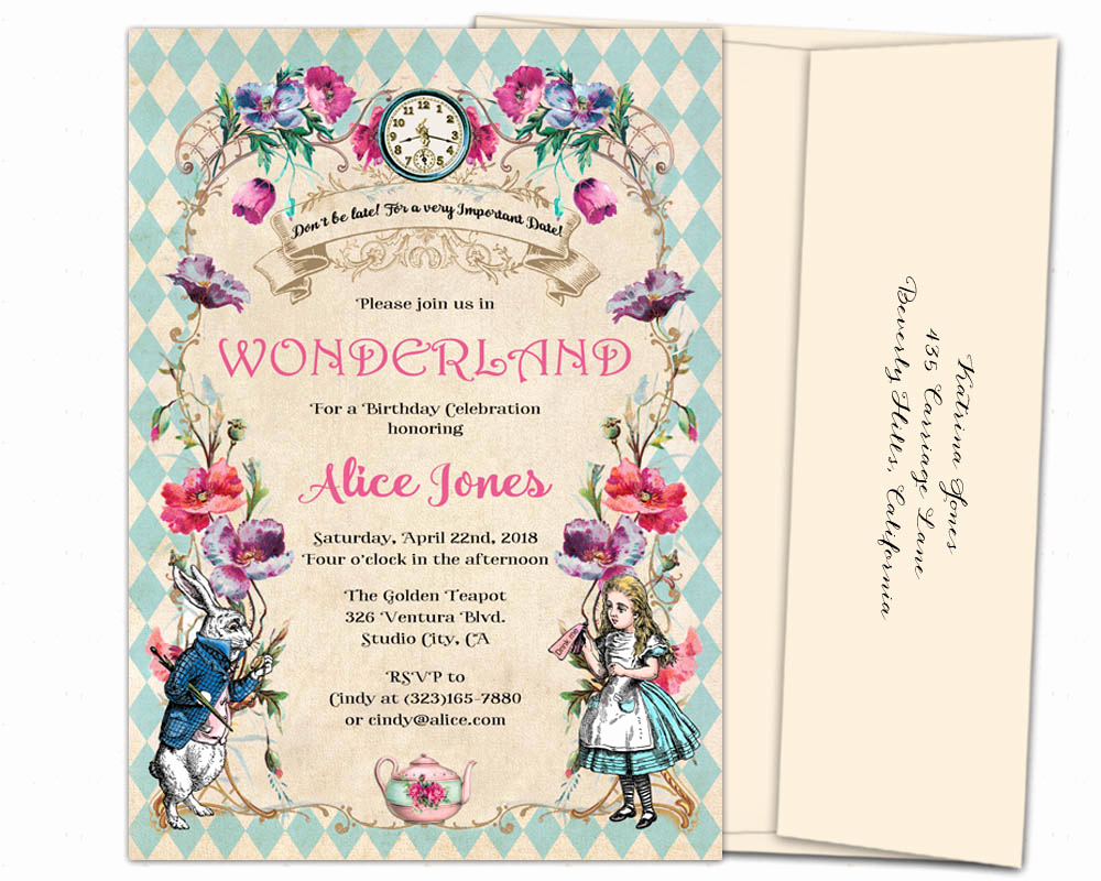 Alice In Wonderland Invitation Wording Best Of Elegant Alice In Wonderland Invitations 5x7