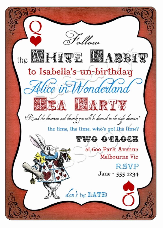 Alice In Wonderland Invitation Wording Elegant Alice In Wonderland Birthday Party Invitation Instant