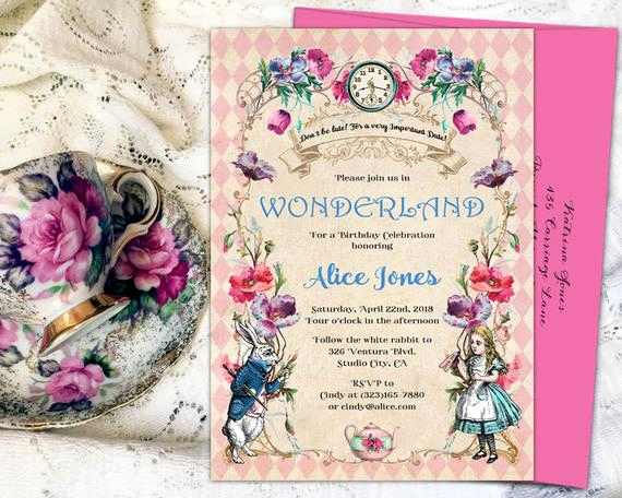 Alice In Wonderland Invitation Wording Elegant Alice In Wonderland Invitation Mad Hatter Tea Party