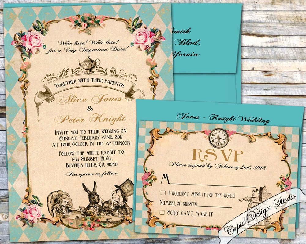 Alice In Wonderland Invitation Wording Elegant Alice In Wonderland Wedding Invitation Mad Hatter Wonderland