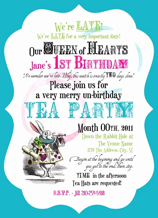 Alice In Wonderland Invitation Wording Elegant Vintage Invitation