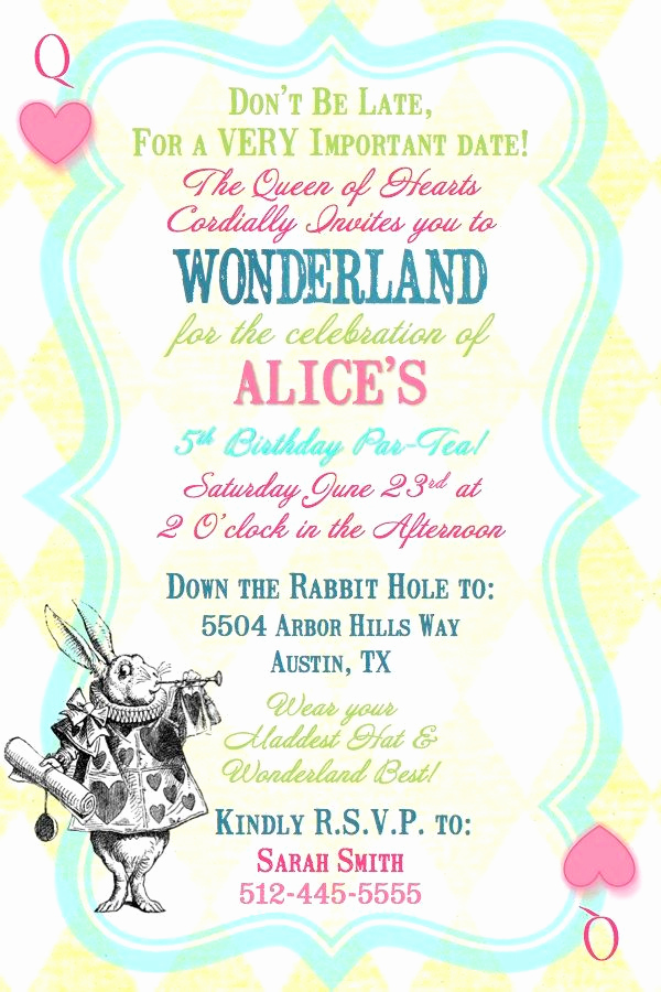 Alice In Wonderland Invitation Wording Inspirational Alice In Wonderland Queen Of Hearts Birthday Tea Party