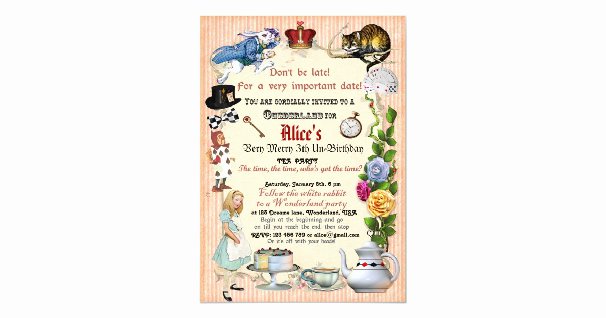 Alice In Wonderland Invitation Wording Lovely Alice In Wonderland Birthday Party Invitation