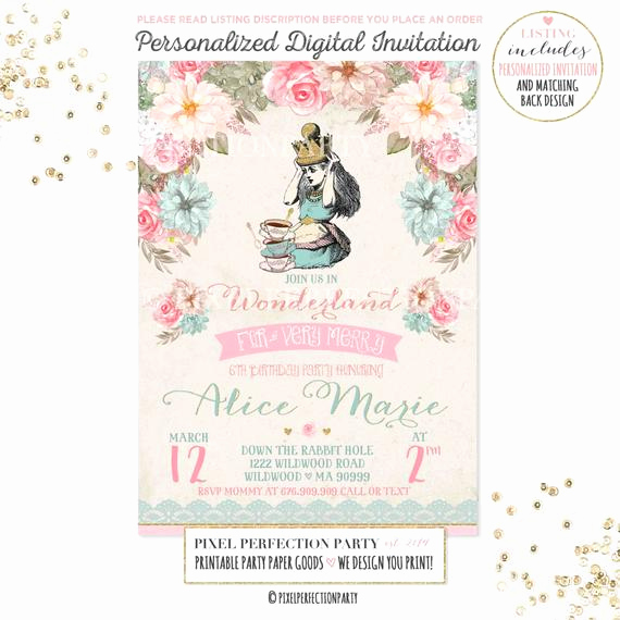 Alice In Wonderland Invitation Wording Lovely Alice In Wonderland Invitation Vintage Alice In Wonderland