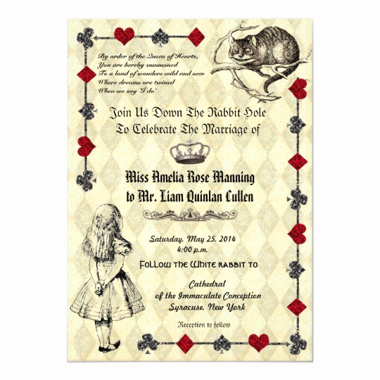 Alice In Wonderland Invitation Wording Lovely Alice In Wonderland Wedding Invitation
