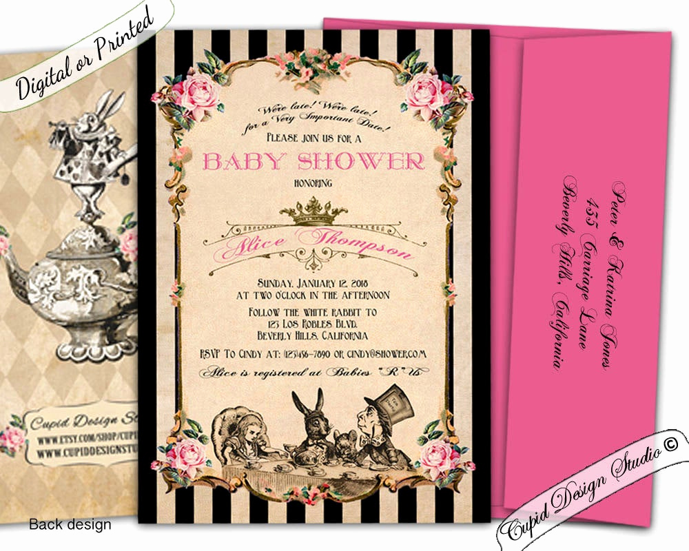 Alice In Wonderland Invitation Wording Luxury Alice In Wonderland Baby Shower Invitation Printable Alice In