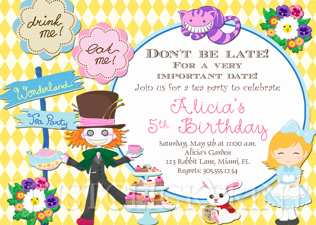 Alice In Wonderland Invitation Wording New Alice In Wonderland Birthday Invitations