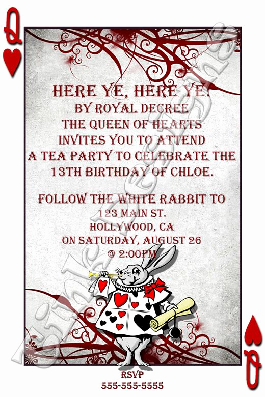Alice In Wonderland Invitation Wording New Alice In Wonderland Invitations Custom Personalized Baby