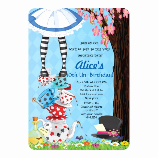 Alice In Wonderland Invitation Wording New Alice In Wonderland Invitations