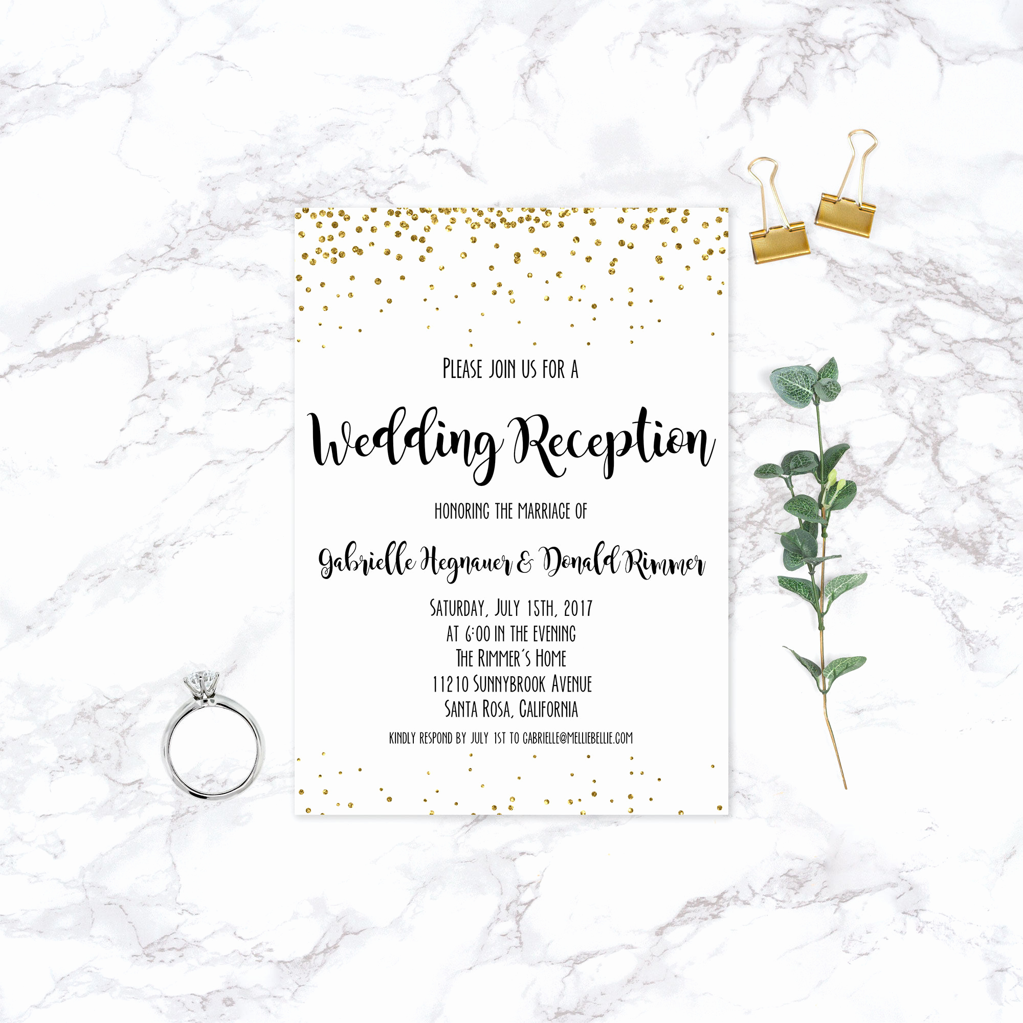 Already Married Wedding Invitation Beautiful Printable Elopement Reception Invitation Wedding