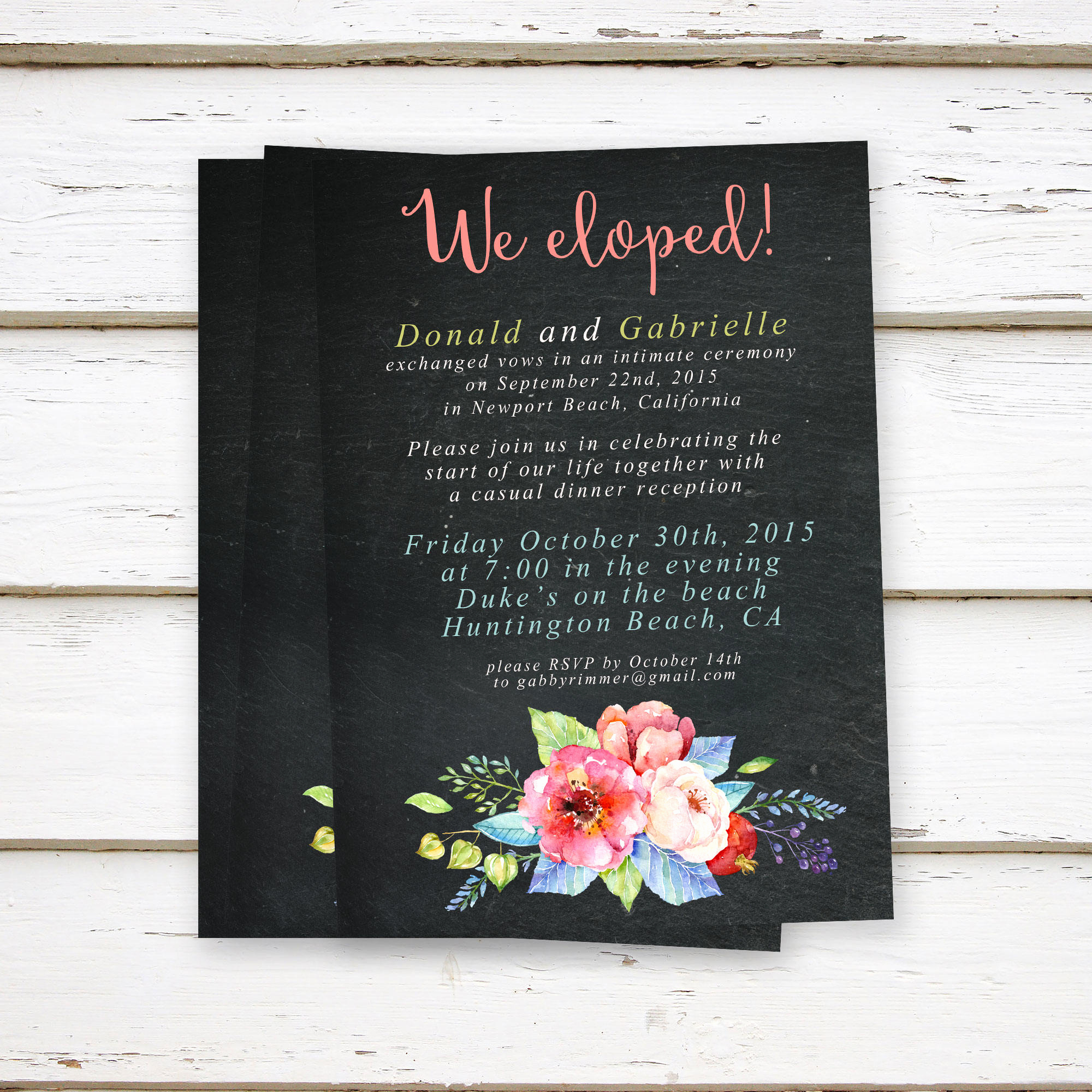 Already Married Wedding Invitation Beautiful Printed Elopement Reception Invitations Elopement