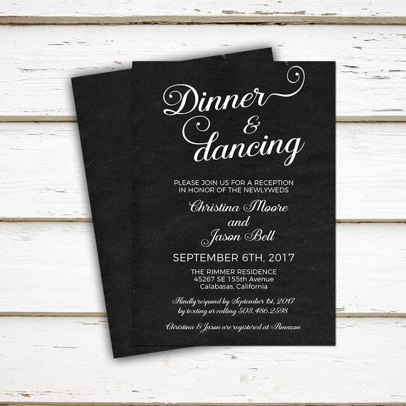 Already Married Wedding Invitation Elegant Printable Wedding Reception Invitation Dinner and Dancing