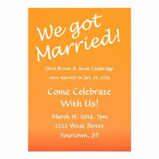 "Already Married Wedding Invitation Elegant We Got Married Post Wedding Party Invitation 5"" X 7"