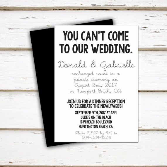 Already Married Wedding Invitation Lovely Best 25 Elopement Reception Ideas On Pinterest