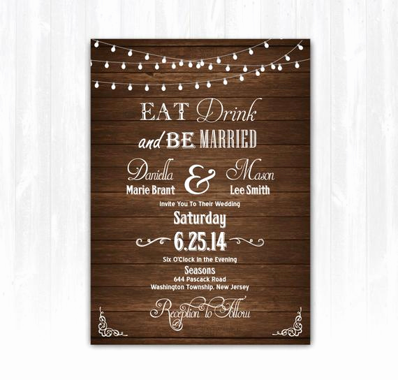 Already Married Wedding Invitation Luxury Wood Eat Drink and Be Married Wedding Invitation Diy Printable