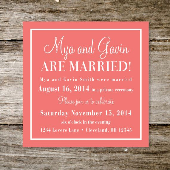 Already Married Wedding Invitation New 17 Best Ideas About Reception Invitations On Pinterest