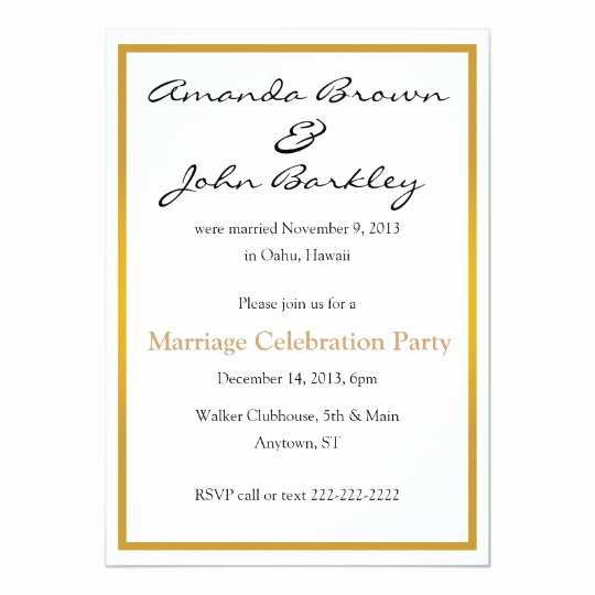 Already Married Wedding Invitation New Post Wedding Marriage Celebration Party Invitation