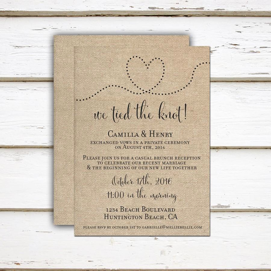 Already Married Wedding Invitation Wording Awesome Camilla Printable Printed Elopement Reception Invitation