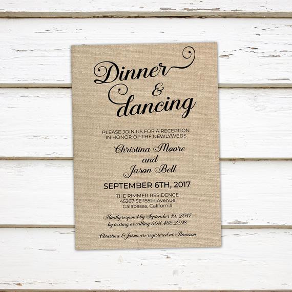 Already Married Wedding Invitation Wording Awesome Printable Wedding Reception Invitation Dinner and Dancing