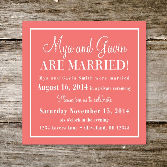 Already Married Wedding Invitation Wording Elegant Check Yes or No Wedding Announcement Reception Invite by