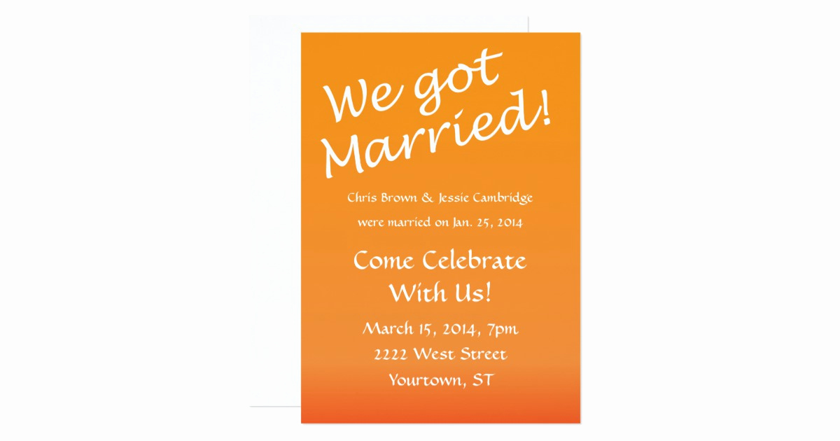 Already Married Wedding Invitation Wording New We Got Married Post Wedding Party Invitation