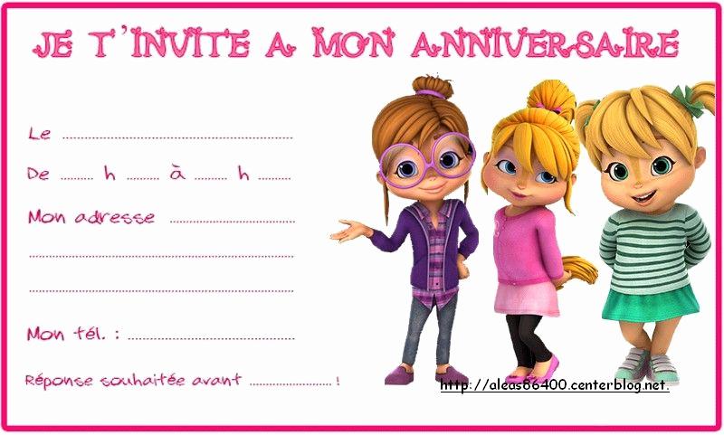 Alvin and the Chipmunks Invitation Elegant Cartes Invitation Alvin Et Les Chipmunks