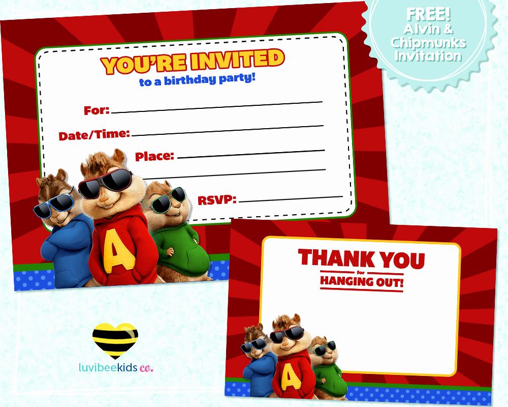 Alvin and the Chipmunks Invitation Elegant Free Printable Alvin & the Chipmunks Birthday Invitation