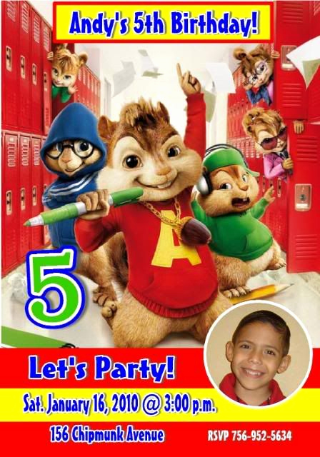 Alvin and the Chipmunks Invitation Fresh Alvin and the Chipmunks Birthday Party Invitations