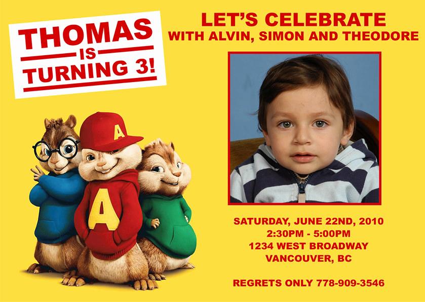 Alvin and the Chipmunks Invitation Lovely Alvin and the Chipmunk Custom Birthday Invitation