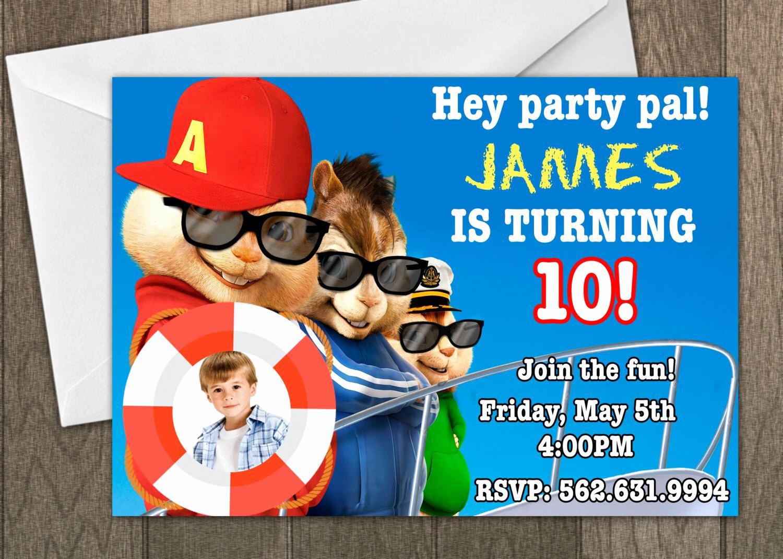 Alvin and the Chipmunks Invitation Unique Printed Alvin and the Chipmunks Birthday Invitation Kids