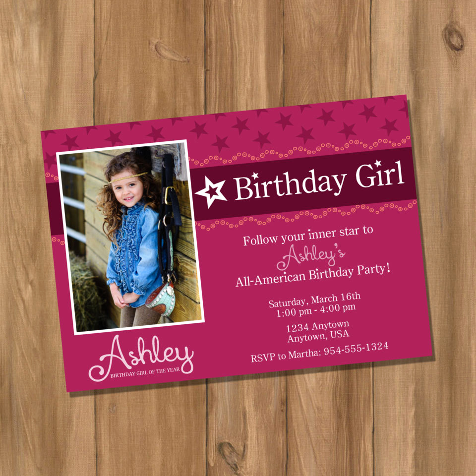American Girl Birthday Invitation Beautiful American Doll Girl Birthday Party Invitation with