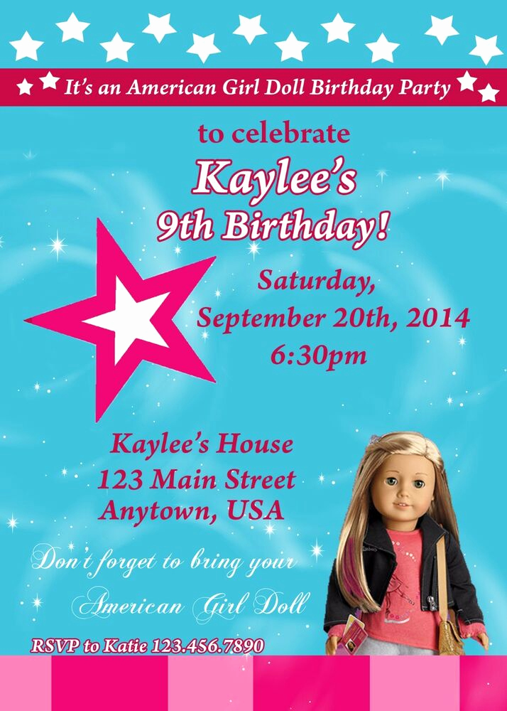American Girl Birthday Invitation Beautiful American Girl Birthday Invitation isabelle Birthday
