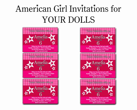 American Girl Birthday Invitation Beautiful American Girl Doll Invitation American Girl by