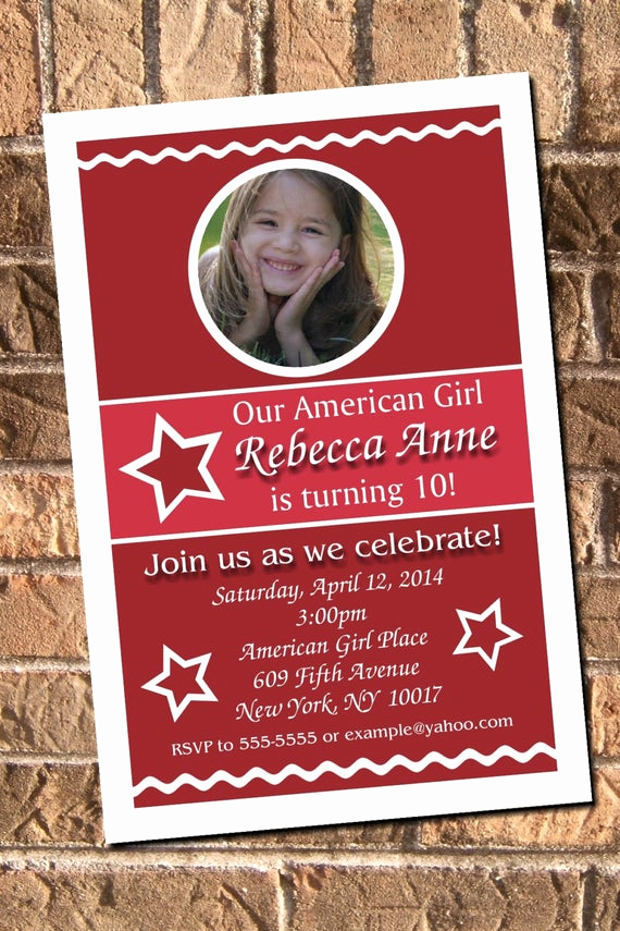 American Girl Birthday Invitation Beautiful American Girl Inspired Birthday Party Invitation by