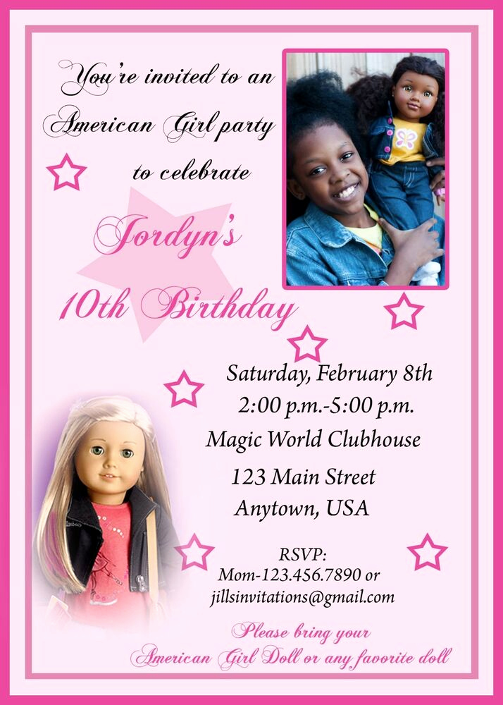 American Girl Birthday Invitation Best Of American Girl Birthday Invitation American Girl Party