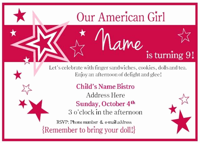 American Girl Birthday Invitation Best Of American Girl Tea Party Birthday – Bakerlady