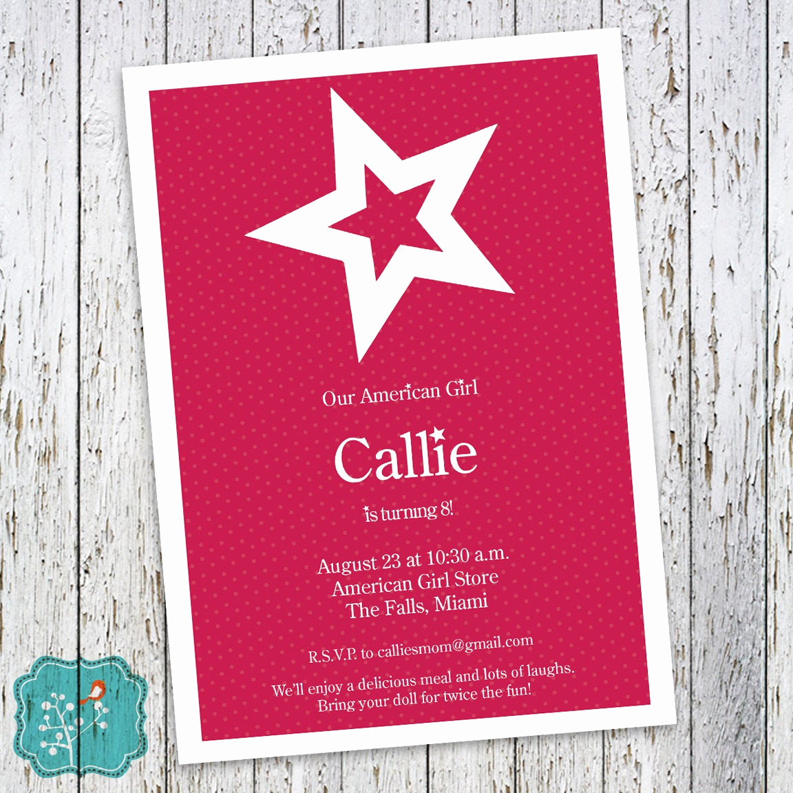 American Girl Birthday Invitation Elegant American Girl Birthday Invitation Girl Birthday by