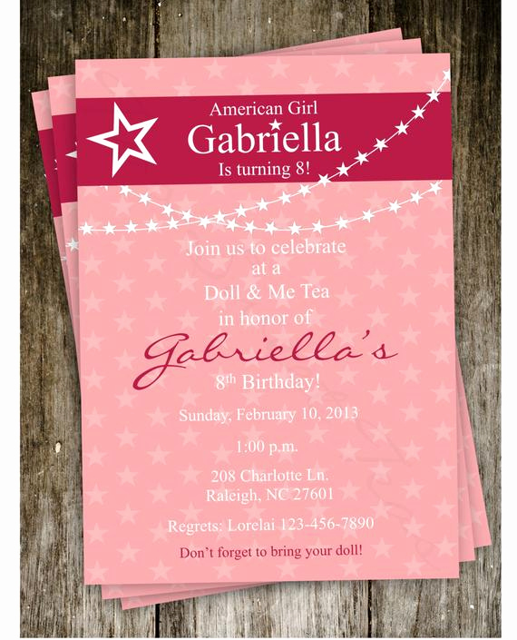 American Girl Birthday Invitation Fresh American Girl Doll Birthday Party Invitation Digital by