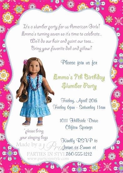 American Girl Birthday Invitation Inspirational American Girl Invitation Leilani Birthday Party Invitation