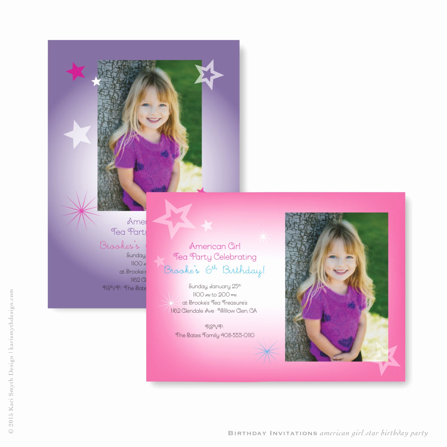 American Girl Birthday Invitation Lovely American Girl Star Birthday Party Invitations