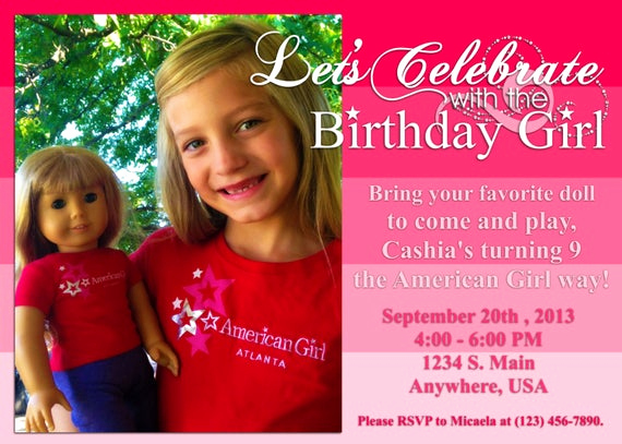 American Girl Birthday Invitation Luxury American Girl Inspired Birthday Invitation by Decidedlydigital