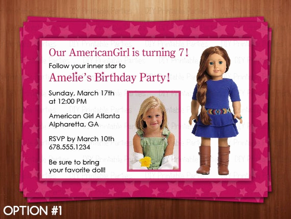American Girl Birthday Invitation Luxury Printable Diy Pink American Girl Doll theme by