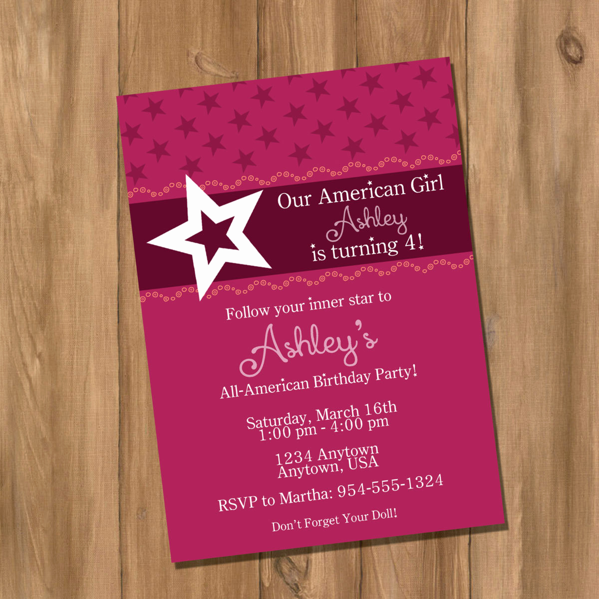 American Girl Birthday Invitation Unique American Doll Girl Birthday Party Invitation Digital Diy