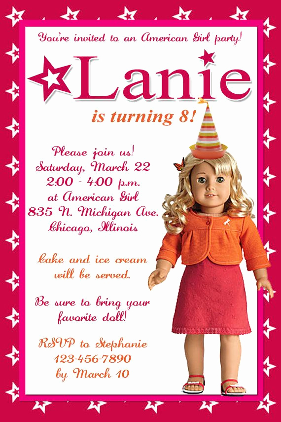American Girl Birthday Invitation Unique American Girl Birthday Party Invitation by