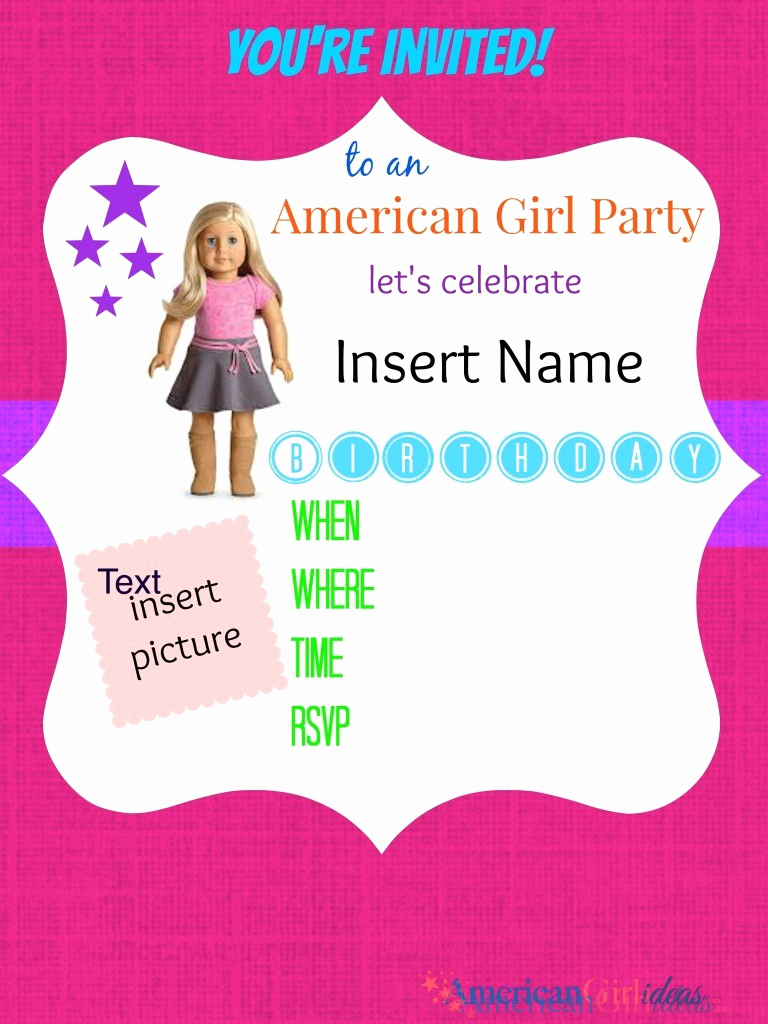 American Girl Birthday Invitation Unique American Girl Party Invitations • American Girl Ideas